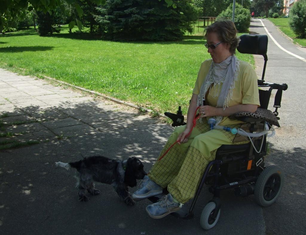 Renata, trpící Pompeho nemocí, na vozíku venčí psa
